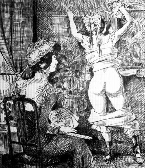 ruler spanking for girl in pantalettes