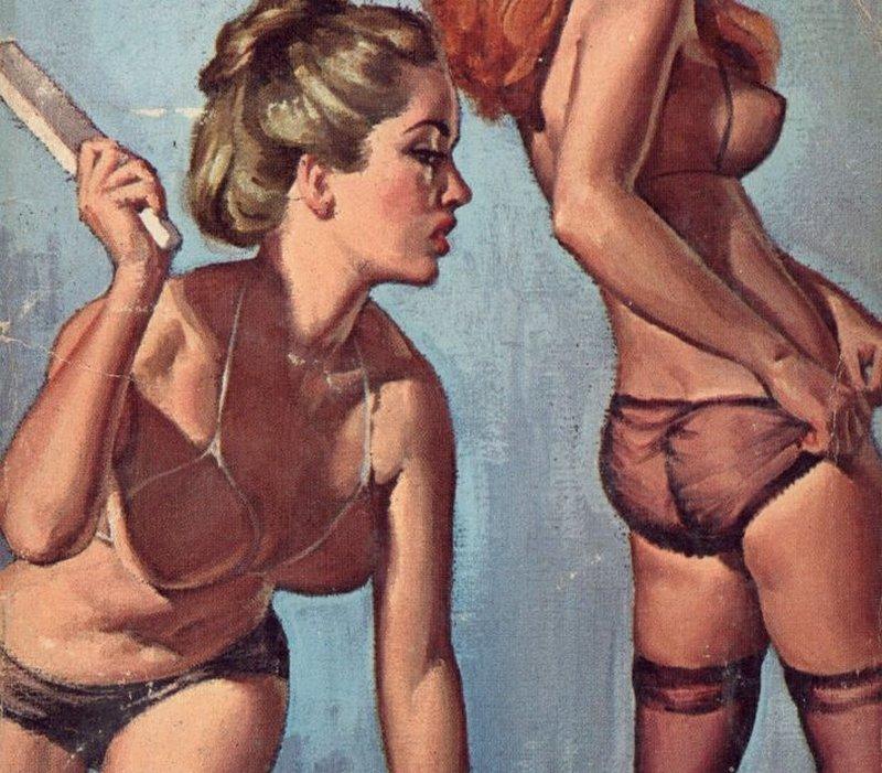 lesbian spanking pulp art