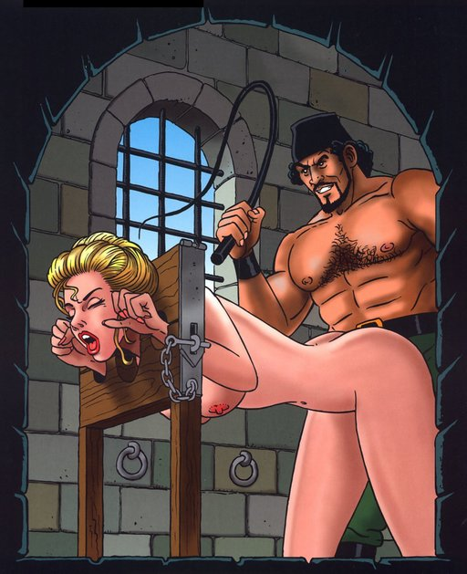 whipping sex in the pillory with a burly fez-wearing man
