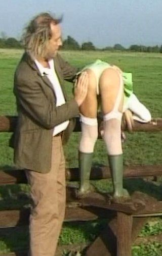 caught by the gamekeeper and spanked over a fence for the whole world to see