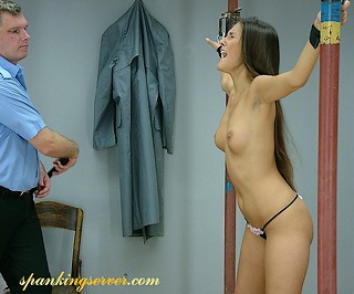 cute girl getting a police whipping
