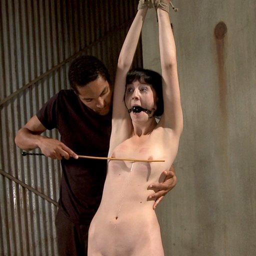 naked slave gets her boobs caned before her bondage fucking