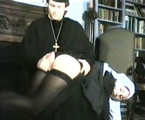 priest gives a nun an otk spanking over her lacy black thong panties