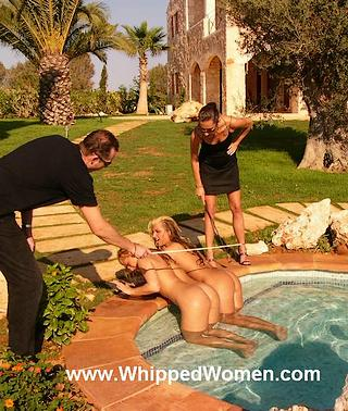 blonde sisters get a poolside whipping for swimming naked without permission