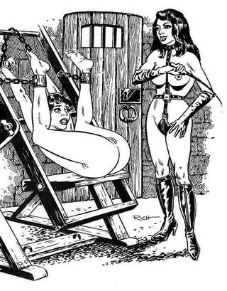 cartoon girl in abject bondage about to get the pussy whipping of her life during an extended dungeon interrogation