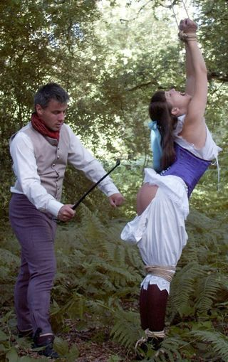 a riding crop spanking in the great outdoors for Rosaleen Young