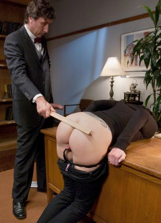 Tricia Oaks bent over the professor\'s desk for a panties-down ruler spanking