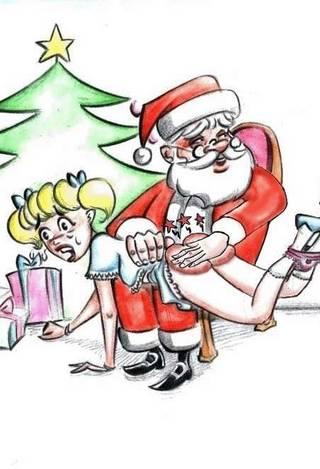 santa claus spanking a blonde