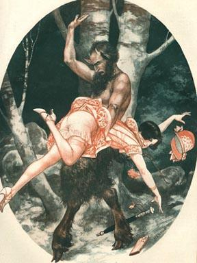 satyr spanks a flapper chick