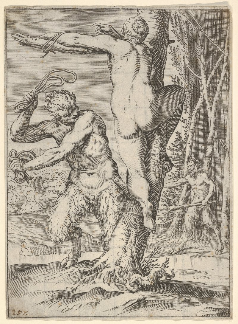 satyr whipping a nymph who is tied to a tree
