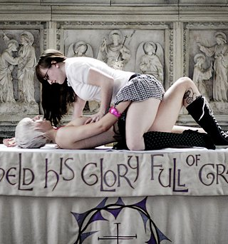 naughty lesbian schoolsgirls making out on the altar of a working church