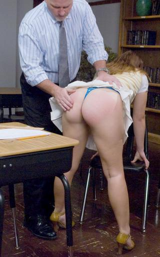 cheating schoolgirl bent over and spanked hard