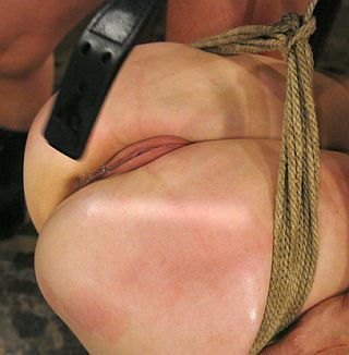 a leather strap for spanking an exposed pussy
