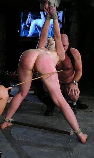 naked bondage caning