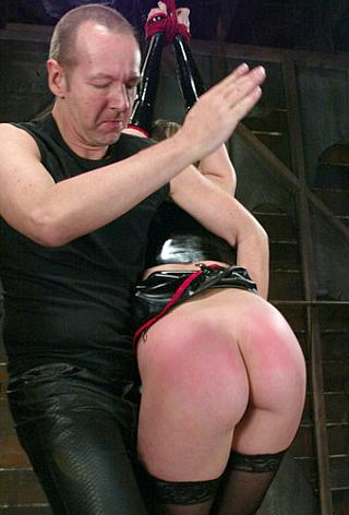 red bottomed bondage spanking