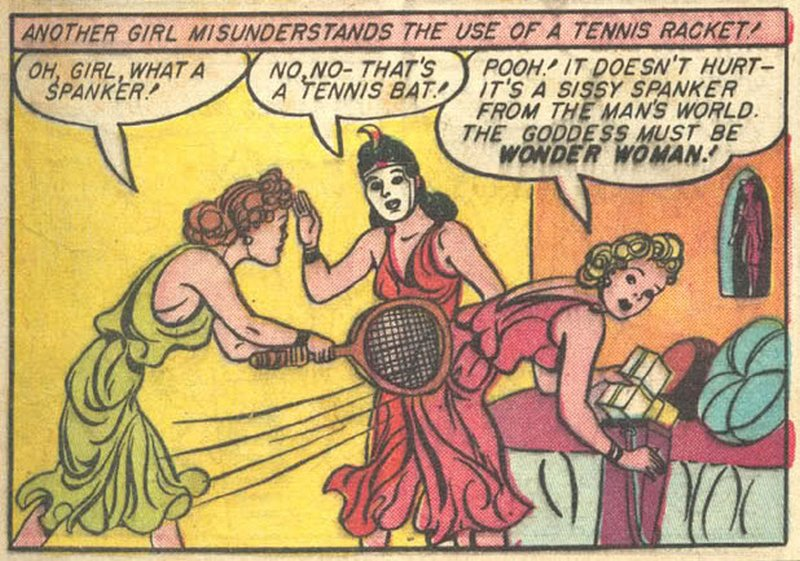 tennis racket spanking on Paradise Island