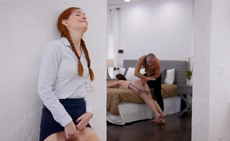 Maya jealously spies and masturbates as her older sister gets spanked by her fiancee