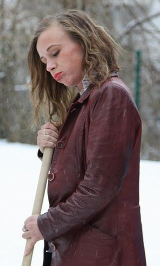 woman fails to shovel snow as she has been commanded to do