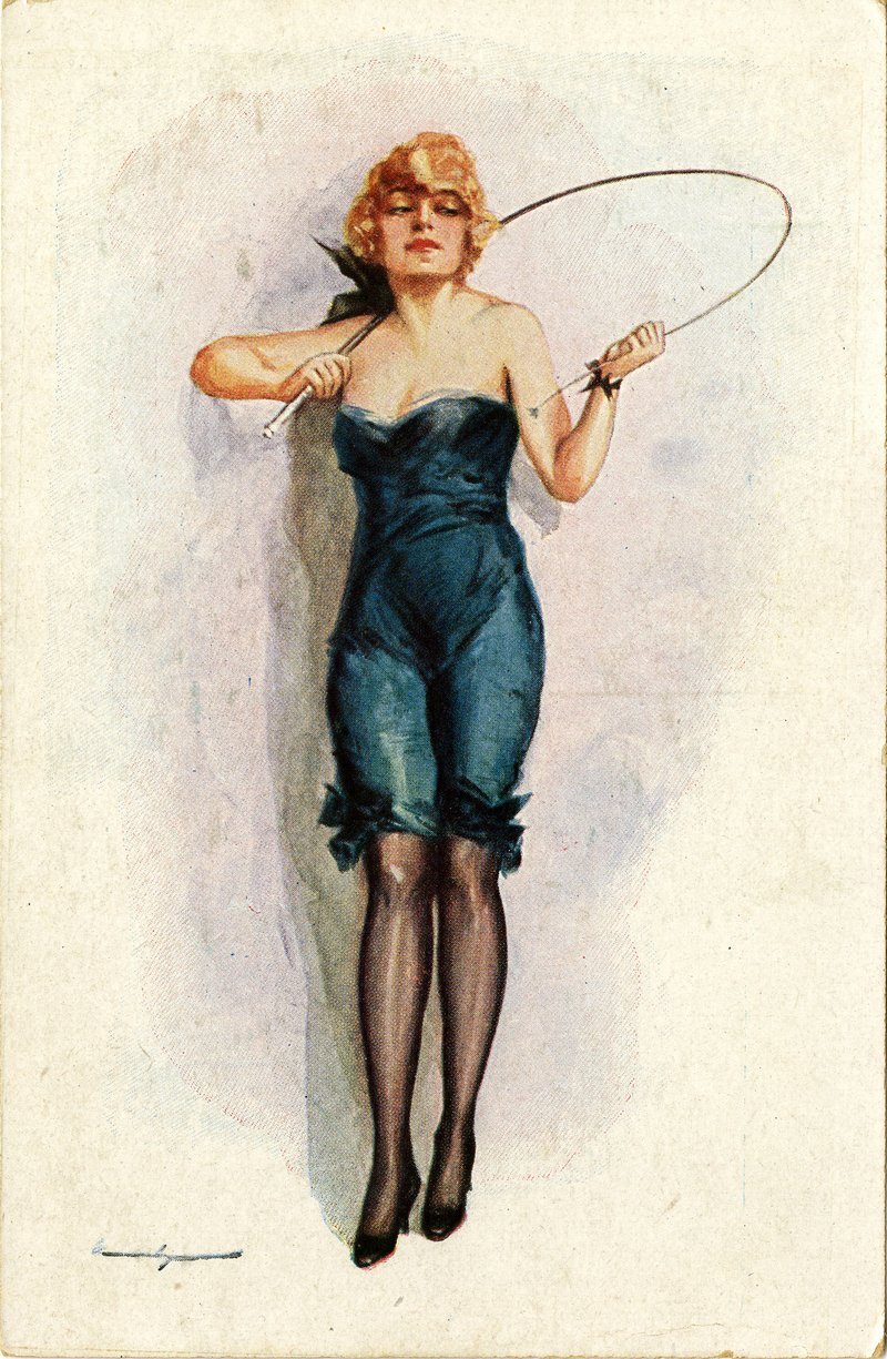 spanish dominatrix with a whip early 20th century vintage postcard