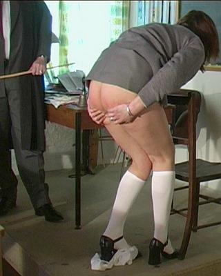 Elizabeth Simpson caned and clutching her sore bottom