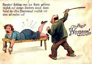 new years wife spanking postcard