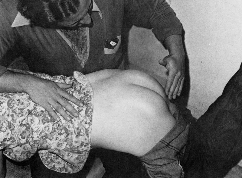 a bare-bottomed otk spanking from a man with a furry chest and a lot of chest hair
