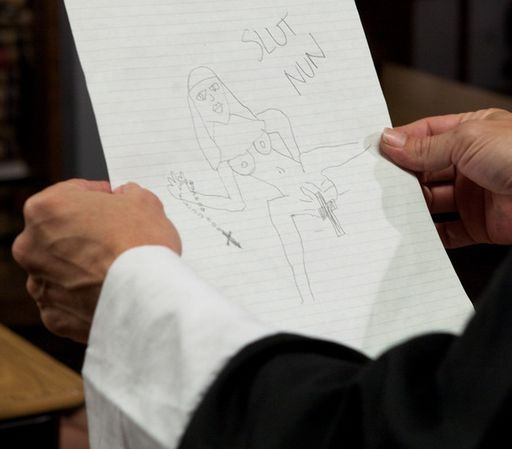 catholic schoolgirl busted for drawing a filthy cartoon about her slut nun teacher