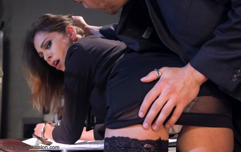 rookie cop is handcuffed, spanked over her own desk, and then fucked