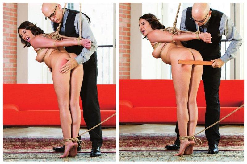 Christiana Cinn spanked in rope bondage
