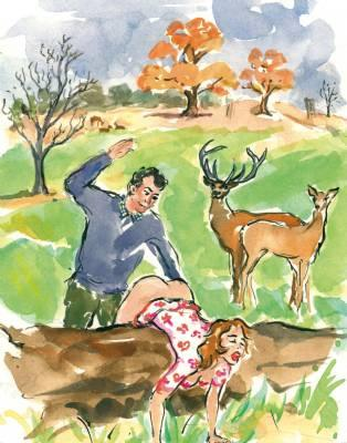 outdoor spanking in a park with tame deer