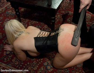 Leather paddle spanking for Candy Manson