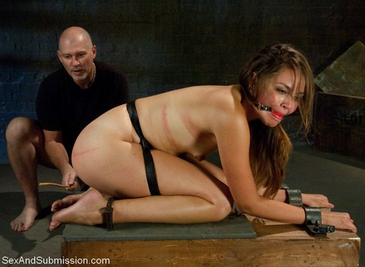 Allie Haze gagged and caned hard