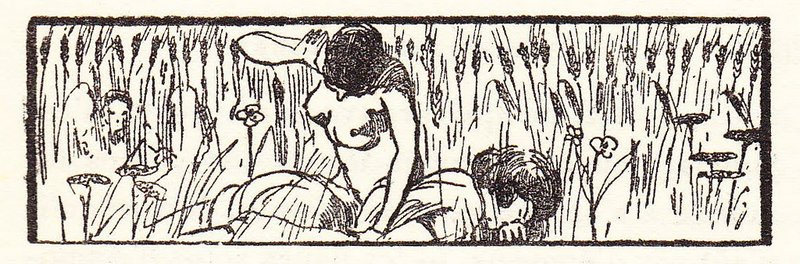 naked girl spanking in a field of grain or grass  with wildflowers and weeds as someone watches from concealment