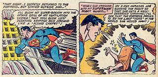lois lane spanked by superman\'s guard robot while Superman watches