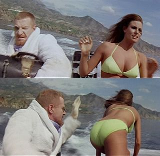 Raquel Welch appear to get a spanking in the movie Fathom