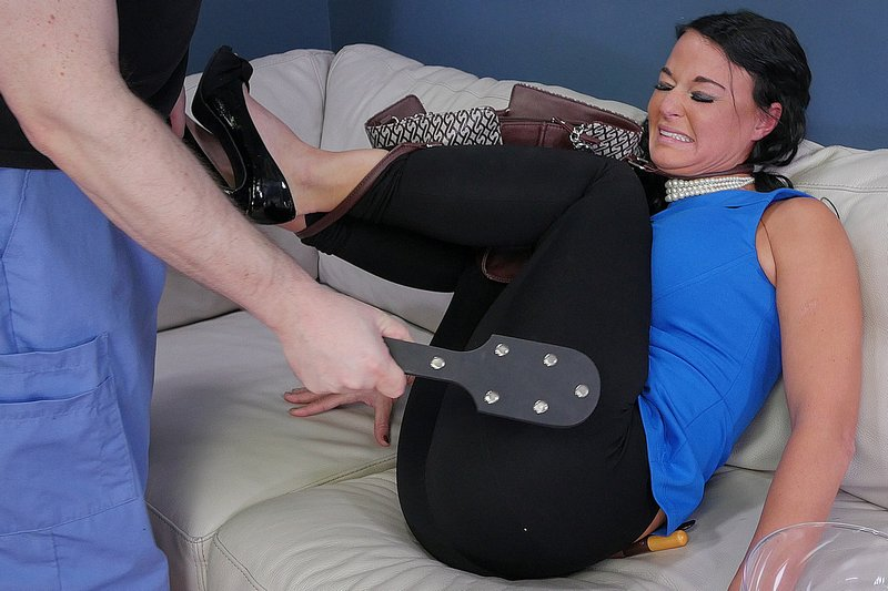 London River fully clothed studded leather paddle spanking