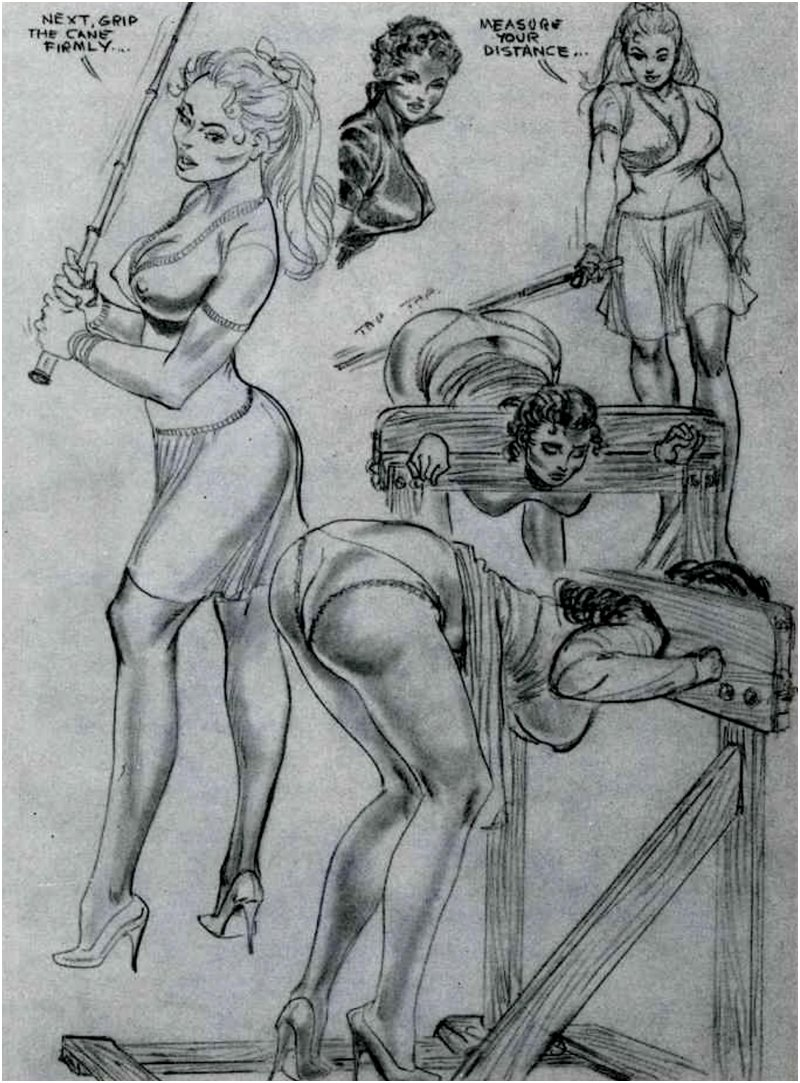 caning demonstration art by Eric Stanton