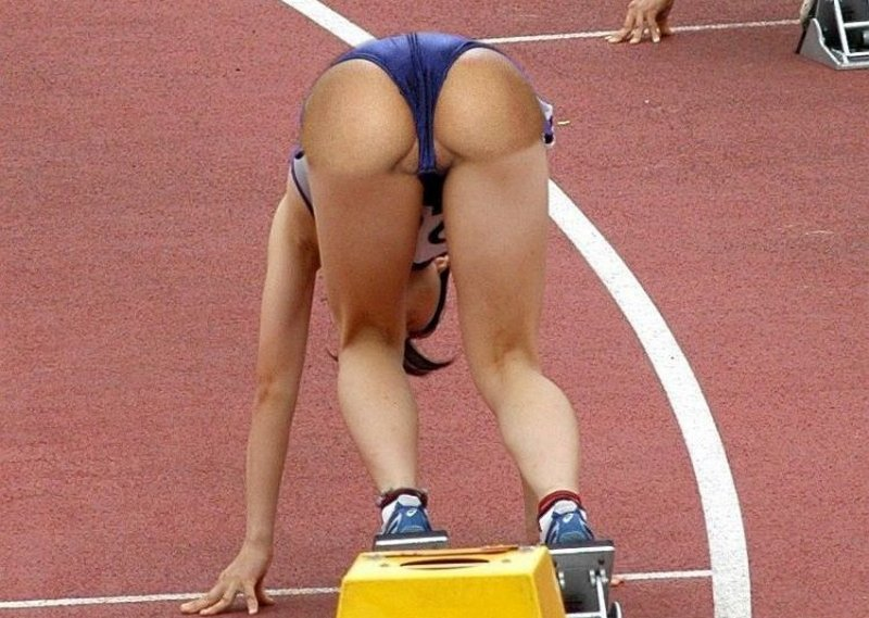 sprinter on the blocks with her bottom in the air and just begging for a hard cane stroke