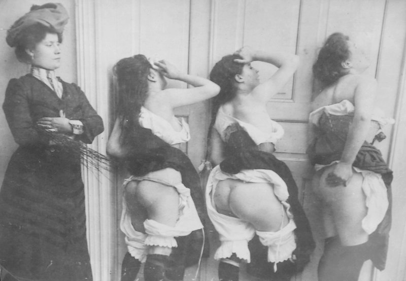 three birched ladies repent under the eye of their stern governess