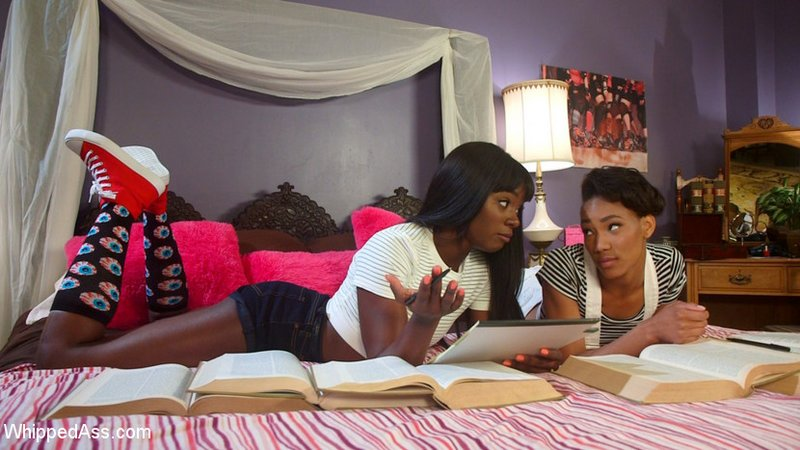 black women sorority sisters studying on a bed