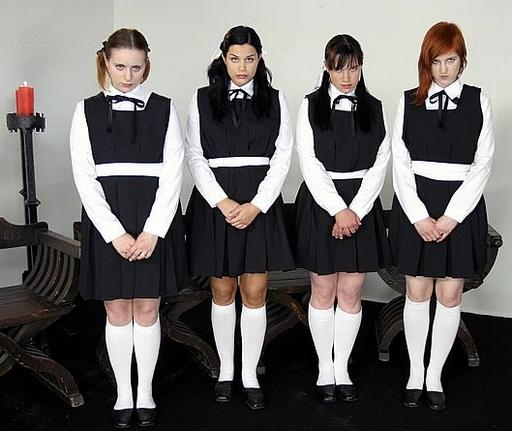 four surly girls about to be beaten at religious school -- Black Velvet movie