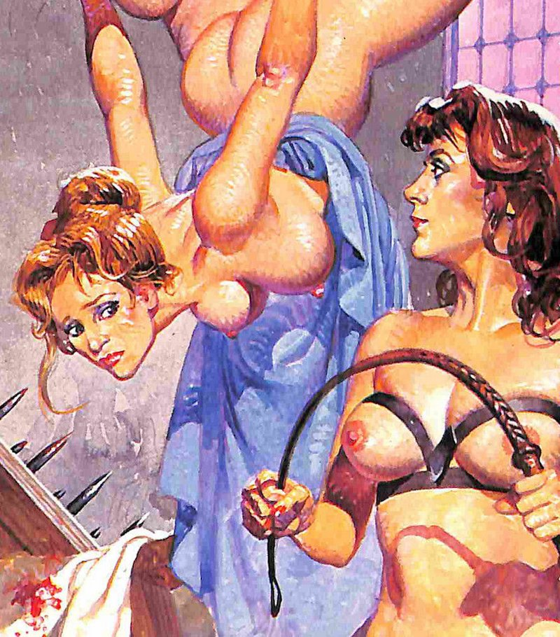 fumetti cover whipping and suspension in a torture dungeon