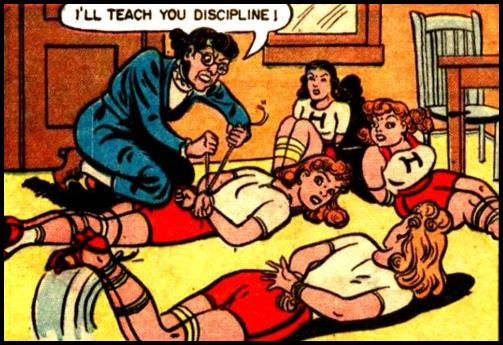 1940s cheerleaders or tennis class girls tied up for discipline
