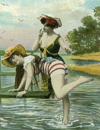 bathing beauties spanking postcard