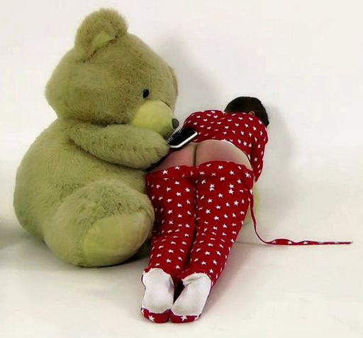 spanked by the big teddy bear