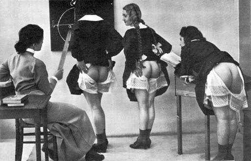vintage classroom punishment scene with three girls and a female teacher-disciplinarian