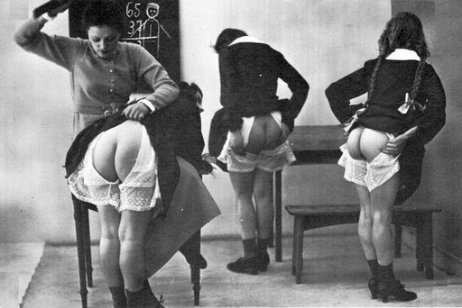 teacher spanks one of three naughty girls
