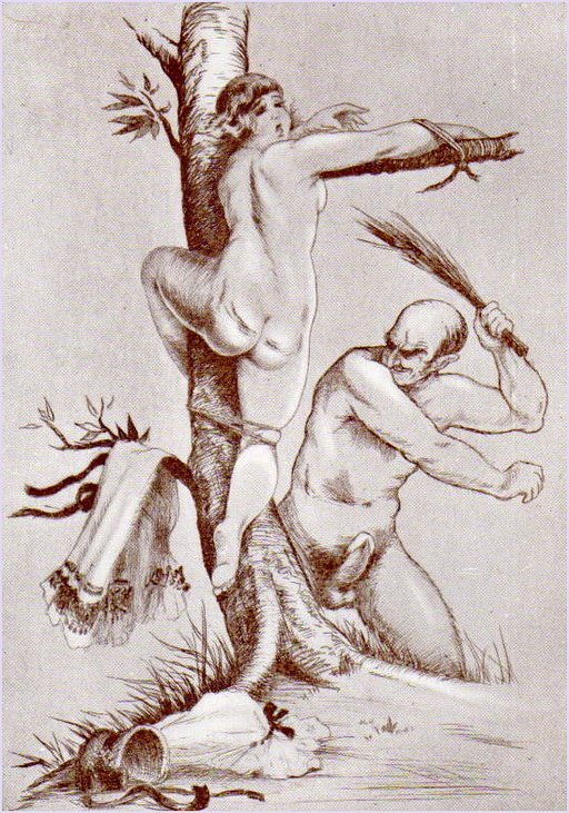 tied to a tree in crucifixion posture and brutally birched by a naked man with a rampant erection