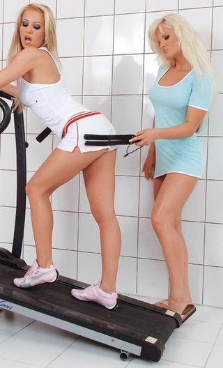pretty blonde gets spanked on a treadmill