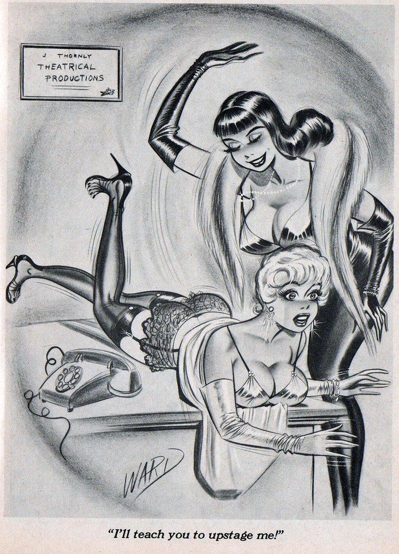 vintage lesbian spanking cartoon by Bill Ward